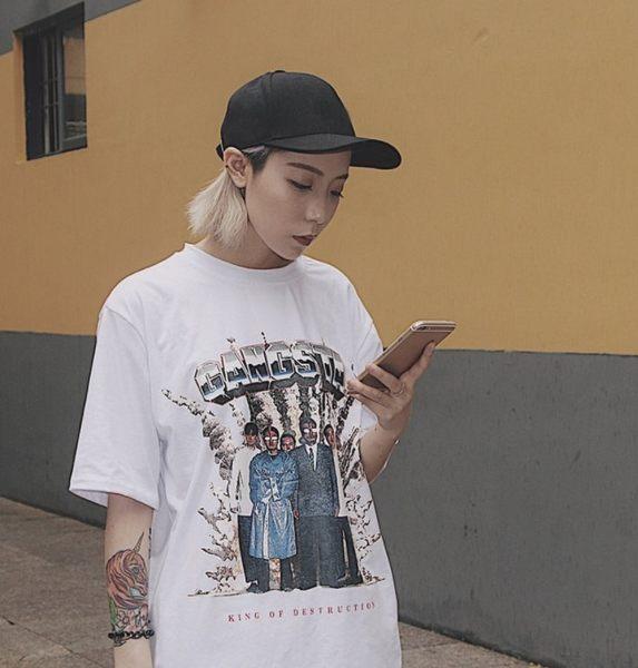 找到自己 韓國 個性 潮 女 寬松 顯瘦上衣 短袖T恤 特色T恤 GF