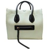 CELINE 賽琳 白綠線條帆布材質手提肩背2way包 笑臉包 囧包 Luggage Phantom BRAND OFF