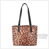 Kate Spade Taylor Leopard黑桃LOGO豹紋設計尼龍拉鍊肩背包(咖啡)