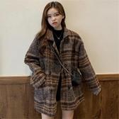 毛呢大衣女秋冬韓版新款復古粗呢格子休閒寬鬆夾棉呢子外套潮 雅楓居