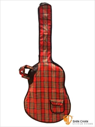 【手提型 輕便型紅格紋古典吉他袋 】 (39吋以下薄筒民謠吉他/旅行吉他皆可用/吉他琴袋)