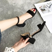 羅馬涼鞋女仙女風夏季新款學生百搭一字扣帶高跟鞋女粗跟女鞋 花樣年華