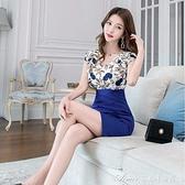 洋裝夏季新款時尚性感氣質成熟職業OL收腰顯瘦荷葉邊包臀裙 快速出貨