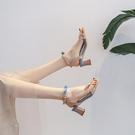2021年夏季新款時裝仙女風配裙一字帶學生網紅夏天高跟粗跟涼鞋女