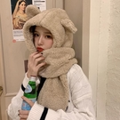 圍巾帽 小熊耳朵帽子圍巾一體女秋冬季連帽圍脖百搭韓版可愛少女保暖學生三角衣櫥