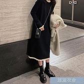大碼女裝 大碼女裝新款秋冬裝胖mm遮肚長袖黑色針織洋裝子氣質