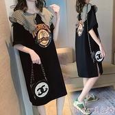 T恤裙 網紅拼接娃娃領短袖t恤裙女夏ins超火2021韓版寬鬆大碼長款連身裙  新品