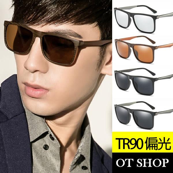 OT SHOP太陽眼鏡‧TR90粗框男款偏光墨鏡現貨亮黑/霧黑框全黑/木紋茶片/霧黑框黑反光‧T45
