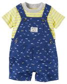 2件組短袖吊帶褲: 深藍紙飛機: 121H134