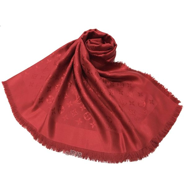 【Louis Vuitton 路易威登】M72237 經典MONOGRAM 花紋披肩圍巾(蘋果紅色)