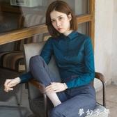 襯衣女新款秋季打底白襯衫職業氣質工作服收腰上衣長袖墨綠色 夢幻衣都