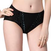 思薇爾-伊麗絲系列M-XXL蕾絲中腰三角女內褲(黑色)