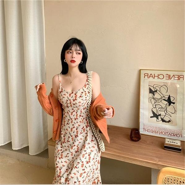 碎花洋裝大碼女裝胖mm法式復古顯瘦碎花吊帶連身裙微胖妹妹心機百搭打底裙 韓國時尚週