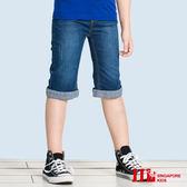JJLKIDS 男童  簡潔反摺褲口修身牛仔六分褲(牛仔藍)