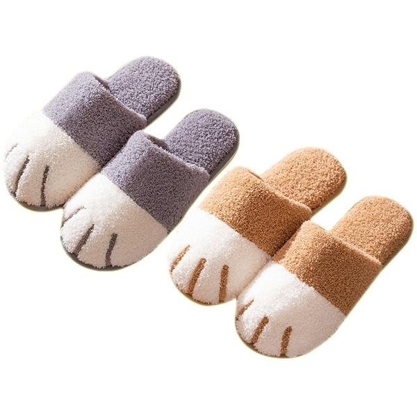 秋冬可愛貓爪造型保暖拖鞋(1雙入) 顏色/尺寸可選【小三美日】