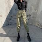工裝褲 束腳工裝褲女褲子春季顯瘦高腰寬鬆百搭新款休閒ins潮運動褲