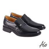 A.S.O機能休閒 萬步健康鞋 直套款商務休閒鞋-黑
