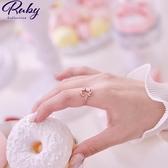 戒指 韓國直送‧蛋白石愛心彩鑽指環戒指-Ruby s 露比午茶