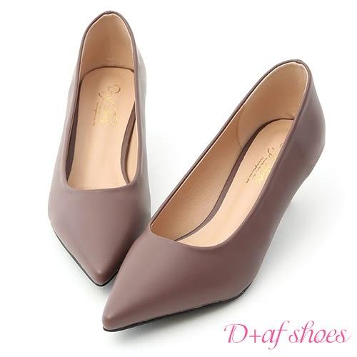 高跟鞋 D+AF 莫蘭迪色.簡約尖頭素面中跟鞋*紫