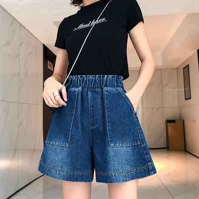 牛仔短褲女高腰顯瘦闊腿熱褲韓風寬松200斤大碼女裝5852F1039韓衣裳