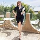 大尺碼洋裝 L-5XL 雪紡V領收腰包臀顯瘦連衣裙 #wm1212 @卡樂@