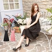 洋裝--女性時尚風格串珠寶石蕾絲肩帶蛋糕長裙/洋裝(黑.粉S-XL)-D327眼圈熊中大尺碼◎