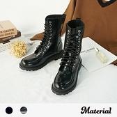 短靴 個性綁帶圓頭中筒靴 MA女鞋 T2080