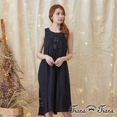 【Tiara Tiara】激安 典型珠飾純棉傘下擺無袖洋裝(黑)