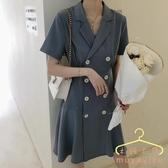 降價兩天 胖mm夏2020年新款顯瘦洋裝套裝 輕熟可甜可鹽西裝連身裙子赫本大碼女裝