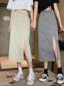 牛仔裙 2020夏季新款ins復古側開叉牛仔半身裙包臀中長款高腰顯瘦a字裙女 韓國時尚週