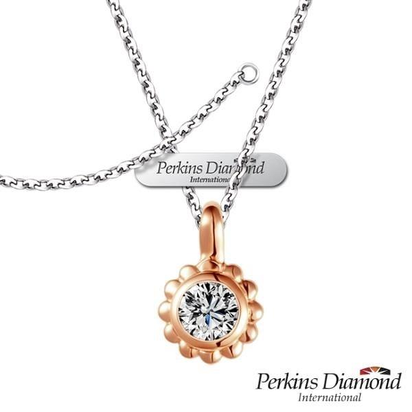 【南紡購物中心】PERKINS 伯金仕 18K玫瑰金 Cute系列 鑽石項鍊