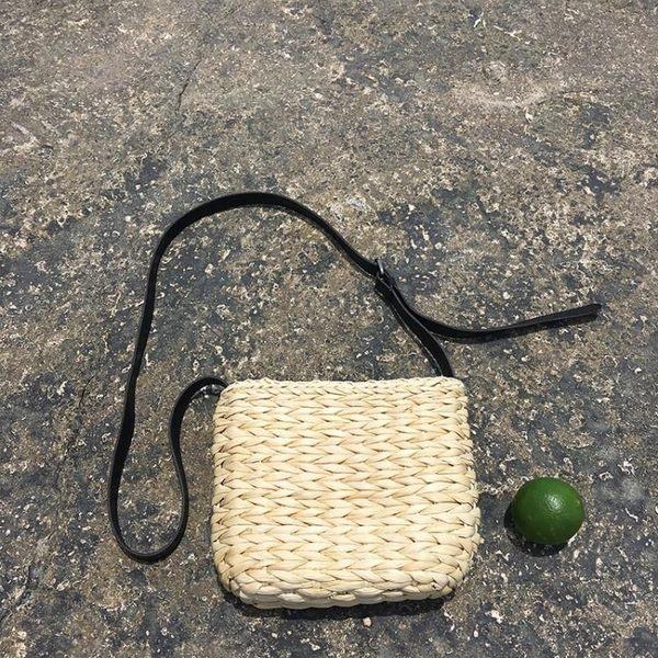 韓版草編小包包PU皮單肩斜背包氣質復古小方包編織沙灘包    琉璃美衣