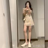 碎花洋裝 淺色泡泡袖赫本風碎花洋裝女夏2020年新款氣質收腰法式初戀長裙 快速出貨