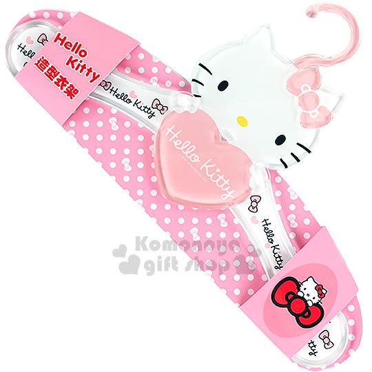 〔小禮堂〕Hello Kitty 造型衣架《粉.大臉.抱愛心》壓克力材質8021780-05580