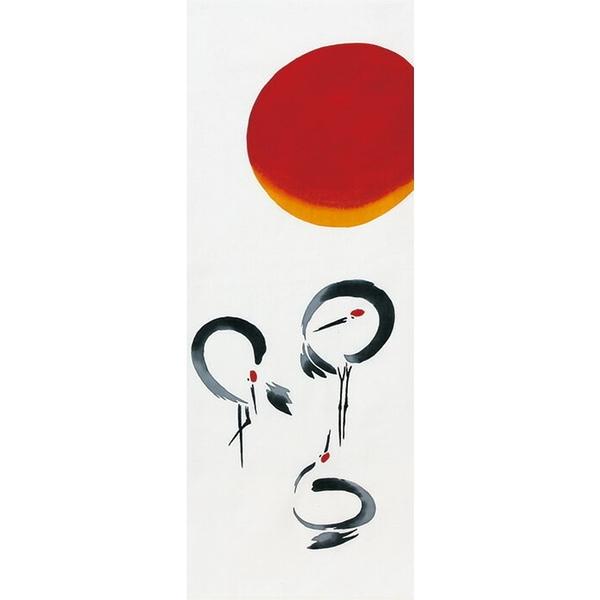 【日本製】【和布華】 日本製 注染拭手巾 日出與丹頂鶴圖案(一組:3個) SD-4997-3 - 和布華
