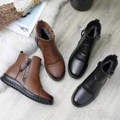 平底靴冬季媽媽棉鞋中短靴保暖加絨平底軟底防滑舒適中老人皮鞋女鞋 雙十二免運