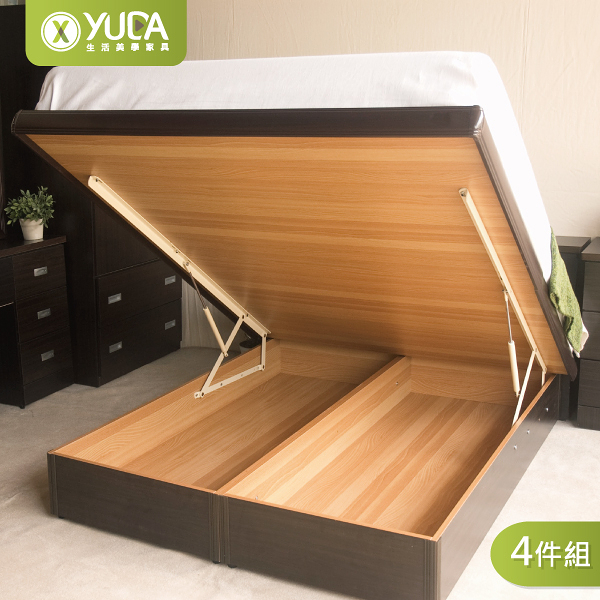 掀床組/收納床組 房間組四件組(床頭箱+掀床+床頭櫃+衣櫃) 雙人加大6尺 新竹以北免運費【YUDA】