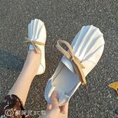 豆豆鞋 單鞋女春百搭森女系復古包頭豆豆鞋子學生休閑平底懶人鞋 【創時代3C館】