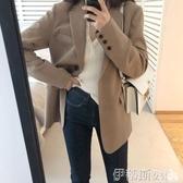 西装外套小西裝外套女黑色2019春秋新款韓版寬鬆英倫風西服網紅女短款上衣 聖誕交換禮物