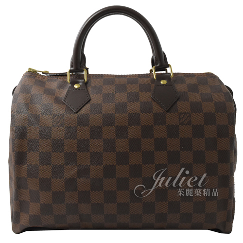 茱麗葉精品 二手精品【9成新】Louis Vuitton N41531 SPEEDY 30 棋盤格紋波士頓包(附鎖組)