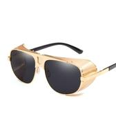 太陽鏡 時尚厚邊擋風墨鏡 個性復古太陽眼鏡【五巷六號】y69