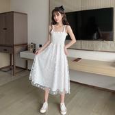 碎花洋裝 白色吊帶女2020新款夏季網紗假兩件拼接小雛菊碎花收腰裙子 艾瑞斯