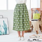【Tiara Tiara】百貨同步新品ss 鬆緊腰印花長裙(藍/綠)