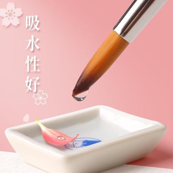 7支裝水彩畫筆毛筆套裝初學者手繪顏料筆快力文尖頭尼龍水粉繪畫成人專用美術