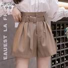 秋款2020年韓版新款時尚寬鬆百搭顯瘦PU皮褲高腰休閒闊腿短褲女【快速出貨】