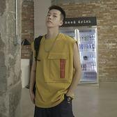 工裝背心男潮牌Ins夏季外穿網紅坎肩個性潮流寬鬆港風嘻哈無袖T恤 滿天星