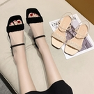 方頭鞋.MIT氣質優雅編織繞踝後簍空平底涼鞋.白鳥麗子