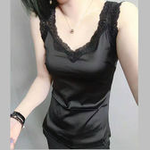 歐洲站桑蠶真絲吊帶小背心女綢緞面蕾絲百搭修身大碼上衣打底『韓女王』