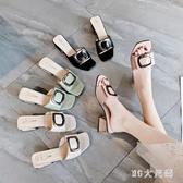 涼拖鞋女外穿2020新款夏季時尚粗跟百搭高跟女士一字拖鞋潮 EY11120 【MG大尺碼】