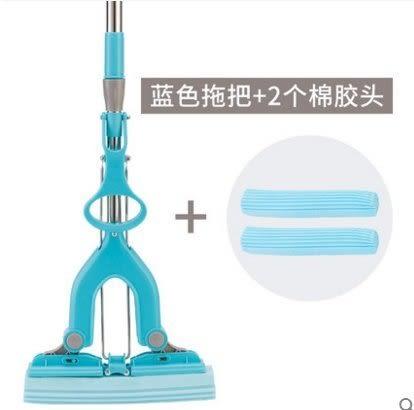 中躍滾輪擠水膠棉拖把魔術對折免手洗海綿拖把大號強吸水地拖墩布【藍色拖把 2個棉膠頭】